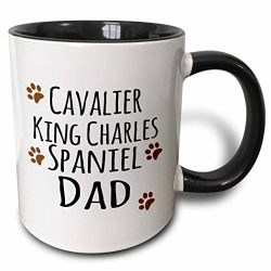 3dRose (mug_153882_4) Cavalier King Charles Spaniel Dog Dad – Doggie by breed – brown muddy paw prints – doggy lover owner – Two Tone Black Mug, 11oz
