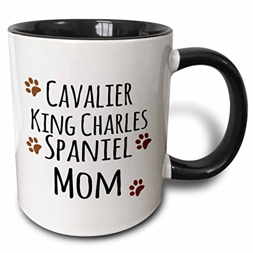 3dRose (mug_154093_4) Cavalier King Charles Spaniel Dog Mom – Doggie by breed – brown muddy paw prints – doggy lover owner – Two Tone Black Mug, 11oz