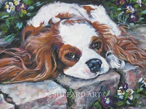 A Cavalier King Charles Spaniel art portrait print of an LA Shepard painting 12×16″