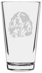 Cavalier King Charles Spaniel Dog Themed Etched All Purpose 16oz Libbey Pint Glass