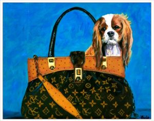 One 11×14 Inch Cavalier King Charles Spaniel in a Haute Couture Handbag Fine Art Print From an Original Painting By Philo