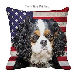 Personalized Pillow Cases with Cavalier King Charles Spaniel Dog Pattern for Dog Lover Gifts(Zippered,16X16 inch)