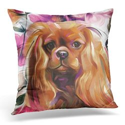VANMI Throw Pillow Cover King Ruby Cavalier Dog Charles Decorative Pillow Case Home Decor Square 18×18 Inches Pillowcase