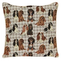 Signare Tapestry Double Sided Square Throw Pillow Cover 18″ x 18″/ 45cm x 45cm (No Padding) in Cavalier King Charles Spaniel