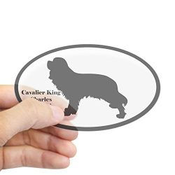 CafePress – Cavalier King Charles Spaniel Silhouette Sticker – Oval Bumper Sticker, Euro Oval Car Decal