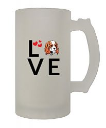 Love Hearts Cavalier King Charles Spaniel 16 Oz Frosted Glass Stein Beer Mug