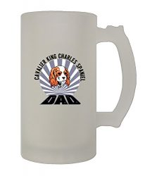 Dad Cavalier King Charles Spaniel Dog 16 Oz Frosted Glass Stein Beer Mug