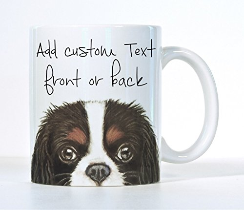 Cavalier King Charles Spaniel Coffee Mug, Tri-Color, Black, Ruby OR Blenheim Cavalier Color, Customizable Gift, Add A Name or Message