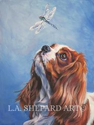 A Cavalier King Charles Spaniel art portrait print of an LA Shepard painting 8×10″