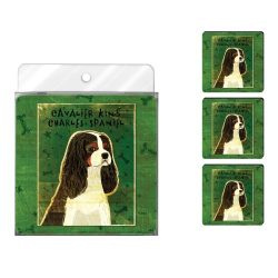 Tree-Free Greetings NC38012 John W. Golden 4-Pack Artful Coaster Set, Tri-Color Cavalier King Charles
