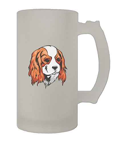 Cavalier King Charles Spaniel Head 16 Oz Frosted Glass Stein Beer Mug