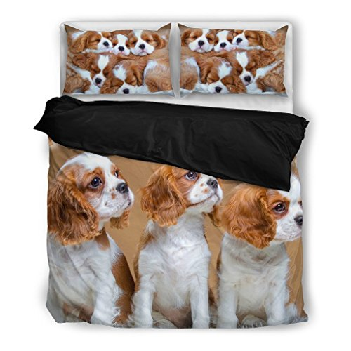 Cute Cavalier King Charles Spaniel Bedding Set – Dog Lovers Gifts – Custom Cover Print Design Pillow Cases & Duvet Blanket Cover – Pet Gift Ideas