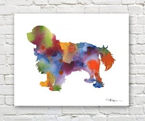 """Cavalier King Charles Spaniel"" Abstract Watercolor Art Print By Artist DJ Ro…"