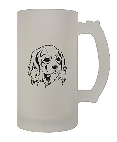 Cavalier King Charles Spaniel Head Black 16 Oz Frosted Glass Stein Beer Mug