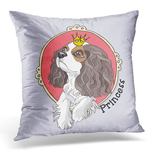 Breezat Throw Pillow Cover Dog Cavalier King Charles Spaniel Puppy with Princess Crown in Pink Cute Decorative Pillow Case Home Decor Square 18×18 Inches Pillowcase