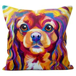 Cavalier King Charles Spaniel Pillow Throw Pillow Couch Cushion Decorative Accent Pillowcase Case Cover Dog Lover Gift Pet Gifts Dogs Colorful Art (18 Inch X 18 Inch Pillow Cover)