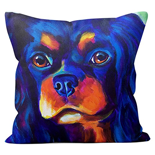 Cavalier King Charles Spaniel Pillow Throw Pillow Couch Cushion Decorative Accent Pillowcase Case Cover Dog Lover Gift Pet Gifts Dogs Colorful Art (18 Inch X 18 Inch With Pillow Insert)