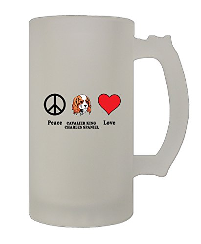 Peace Love Cavalier King Charles Spaniel 16 Oz Frosted Glass Stein Beer Mug