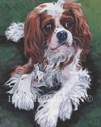 A BLENHEIM Cavalier King Charles Spaniel art portrait print of an LA Shepard painting 8×10″