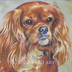 A Cavalier King Charles Spaniel art portrait print of an LA Shepard painting 12×12″