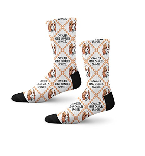 Cavalier King Charles Spaniel Dog Paws Novelty Cuff Crew Men Women Socks Large