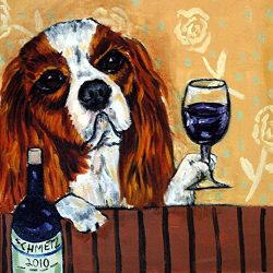 Cavalier King Charles Spaniel at the Wine Bar dog art tile coaster gift