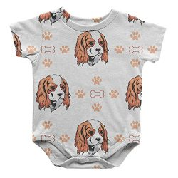 Cavalier King Charles Spaniel Dog Bones Paws Infant One Piece Snapsuit Bodysuit 6 Months