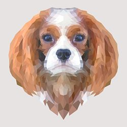Cavalier King Charles Spaniel Made of Geometric Shapes Watercolor Decal – Five Inch Wide Full Color Decal – For Indoor or Outdoor Use – Car, Truck, Laptop, MacBook