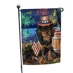 4th of July Independence Day Fireworks Cavalier King Charles Spaniel Dog at the Lake Garden Flag GFLG50875