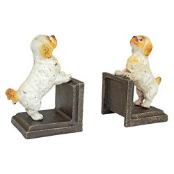 Design Toscano Cavalier King Charles Spaniel Dog Cast Iron Sculptural Bookend Pair