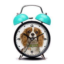 GIRLSIGHT Blue Alarm Clock, Retro Portable Twin Bell Beside Alarm Clocks with Nightlight-126.Cavalier-King-Charles-Spaniel-Blenheim-Dog-Tag
