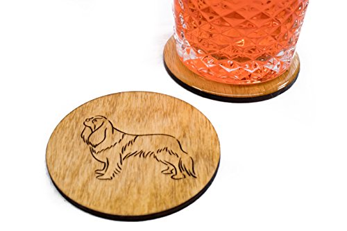 Stained King Charles Cavalier Coasters – Set of 4 Handmade Engraved 3.5″ Round Wood Dog Gift Decor