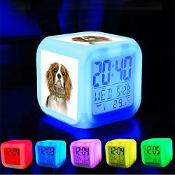 Alarm Clock 7 LED Color Changing Wake Up Bedroom with Data and Temperature Display (Changable Color) Customize the pattern-095.Cavalier-King-Charles-Spaniel-Blenheim-Dog-Tag-ID-Image-nm