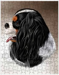 Cavalier King Charles Spaniel Dog Art Portrait Print 252 Pc. Puzzle with Photo Tin