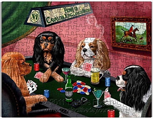 Cavalier King Charles Spaniels Puzzle 252 Pc. with Photo Tin Four Dogs Playing Poker
