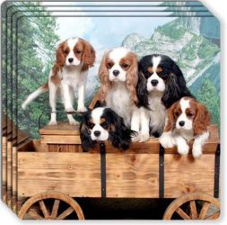 Canine Designs Cavalier King Charles Spaniel Rubber Coasters Set of 4