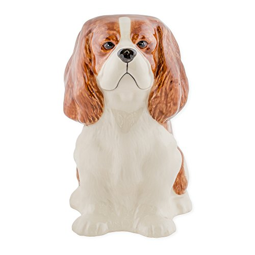 Cavalier King Charles Spaniel Shaped Ceramic Stoneware Hand Painted Coin Bank