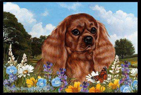 Cavalier King Charles Ruby- Best of Breed Summer Flowers Floor Mat