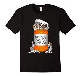 Men's Cavalier King Charles Spaniel Happy Pills T-shirt Medium Black