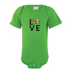 Cute Rascals Cavalier King Charles Spaniel Dog Love Hearts Baby Bodysuit One Piece Apple Green 6 Months