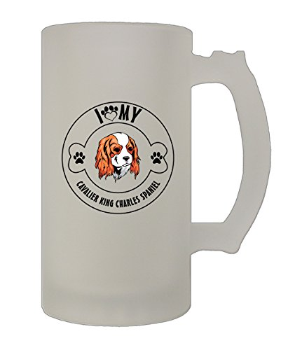 Love Paw Cavalier King Charles Spaniel 16 Oz Frosted Glass Stein Beer Mug