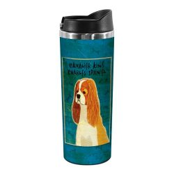Tree-Free Greetings TT02011 John W. Golden 18-8 Double Wall Stainless Steel Artful Tumbler, 14-Ounce, Cavalier King Charles-Blenheim