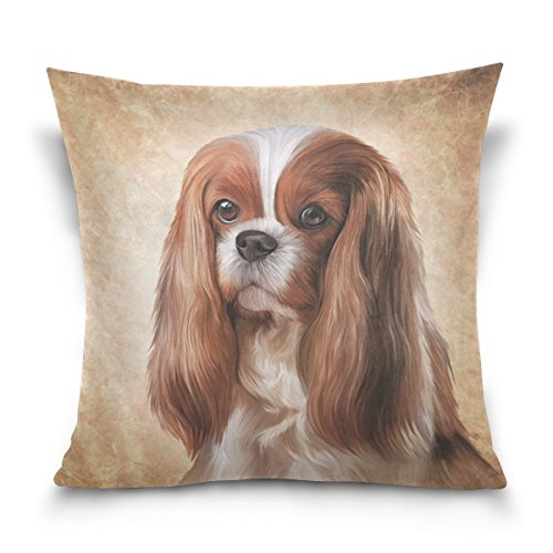 Cavalier King Charles Spaniel Dog Square Throw Pillow Case Cotton Velvet Cushion Cover