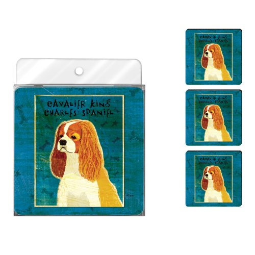 Tree-Free Greetings NC38011 John W. Golden 4-Pack Artful Coaster Set, Cavalier King Charles Blenheim