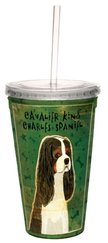 Tree-Free Greetings cc34012 Tri-Color Cavalier King Charles by John W. Golden Artful Traveler Double-Walled Cool Cup with Reusable Straw, 16-Ounce