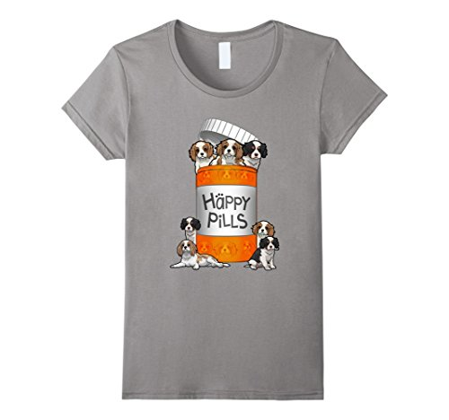 Women's Cavalier King Charles Spaniel Happy Pills T-shirt Small Slate