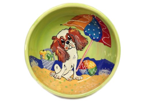 Cavalier King Charles Dog Food and Water Bowl. Personalized at no Charge. Signed by Artist, Debby Carman.