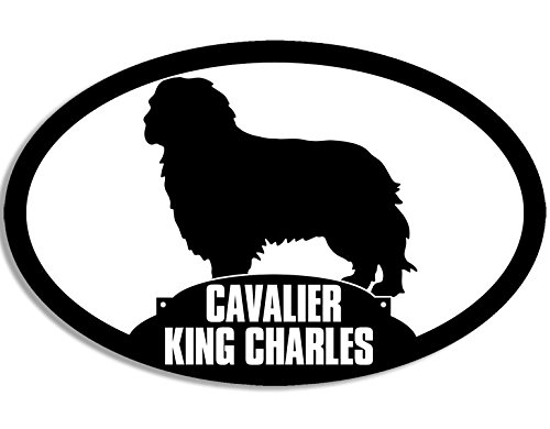 Oval CAVALIER KING CHARLES Silhouette Sticker (dog spaniel breed)