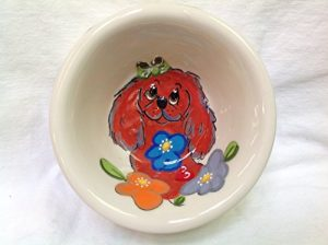 King Charles Cavalier 6″ Dog Bowl for Food or Water. Personalized at no Charge. Signed by Artist, Debby Carman.