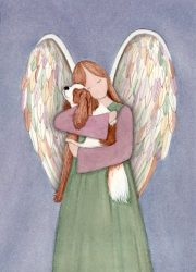 King Charles cavalier and angel / Lynch folk art print
